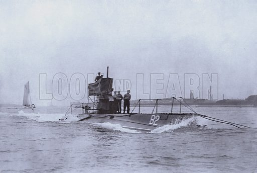 British submarine B2, sunk off Dover in October 1912 after a collision. Illustration from Nelson's Portfolio of War Pictures (Thomas Nelson and Sons, Edinburgh).