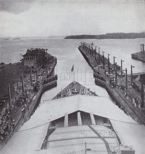 American battleship passing through the Panama Canal on the day of its official opening, 15 August 1914. Illustration for 100 Years in Pictures with text by D C Somervell (Odhams, c 1950).