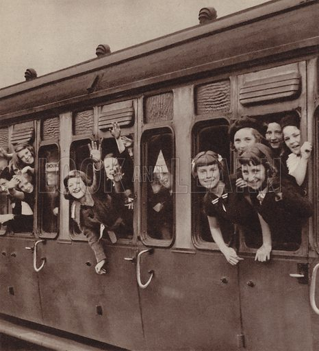 Children being evacuated from London in anticipation of German bombing of the city, World War II, 1940. Illustration for The British at War (Odhams, c 1944).