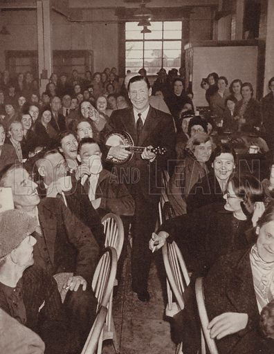 George Formby entertaining an audience of factory workers during World War II. Illustration for The British at War (Odhams, c 1944).