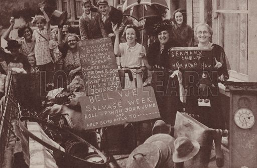 Street savings group and salvage collection club raising money for Britain's war effort, World War II. Illustration for The British at War (Odhams, c 1944).