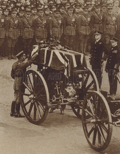 King George V placing a wreath on the coffin of the Unknown