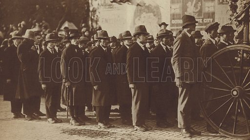 Funeral of Terence MacSwiney, Lord Mayor of Cork, who died in Brixton Prison, London, after going on hunger strike, 1920. Illustration for Those Tremendous Years, 1919-38 (Daily Express, 1938).  Gravure printed.