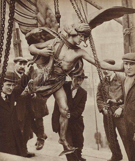 Workmen removing the statue of Eros from London's Piccadilly Circus prior to the reconstruction of Piccadilly …