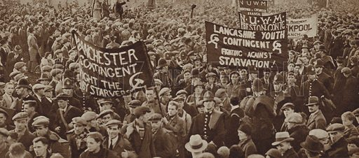 Hunger march by unemployed workers in Hyde Park, London, 1932. Illustration for Those Tremendous Years, 1919–38 (Daily Express, 1938). Gravure printed.