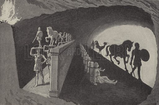 Plato's shadow play. Illustration for Outline of Modern Belief edited by JWN Sullivan and Walter Grierson (George Newnes, 1935).
