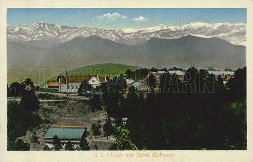 Depot and Roman Catholic Church, Dalhousie cantonment, India. Postcard, early 20th century.