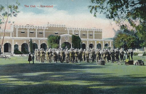 The Club, Rawalpindi, India (now Pakistan). Postcard, early 20th century.