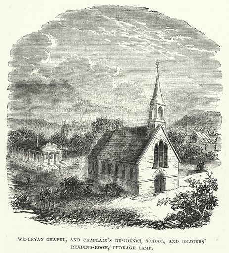 Wesleyan Chapel, and Chaplain's Residence, School, and Soldiers' Reading-Room, Curragh Camp. Illustration for The Christian Miscellany and Family Visiter for the Year 1860 (John Mason, 1861).