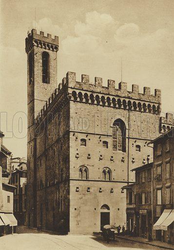 Palazzo Pretorio-o del Podesta ora Museo Nazionale, XIII secolo. Illustration for Ricordo di Firenze (np, c 1900).