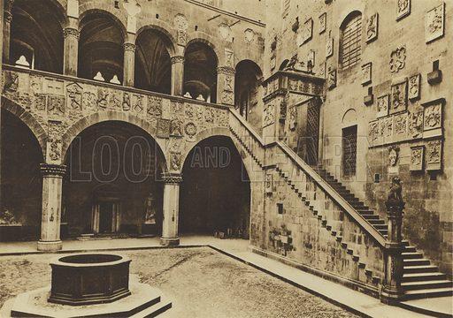 Palazzo Pretorio o del Podesta ora Regio Museo Nazionale, Il Cortile, XIII secolo. Illustration for Ricordo di Firenze (np, c 1900).