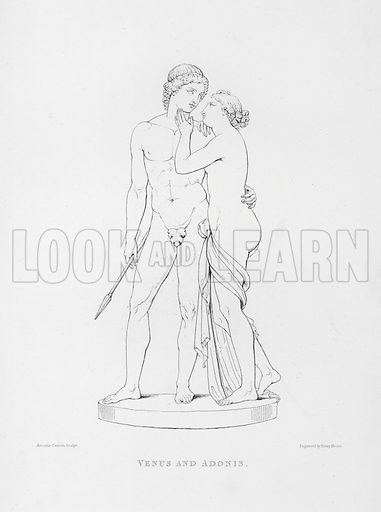 Venus and Adonis. Illustration for The Works of Antonio Canova in Sculpture and Modelling engraved in outline by Henry Moses (Chatto and Windus, 1876).