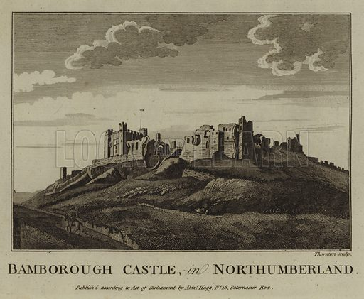 Bamborough Castle, in Northumberland. Illustration for Ruins and Antient Buildings, in England & Wales  (Alex Hogg, 1795).