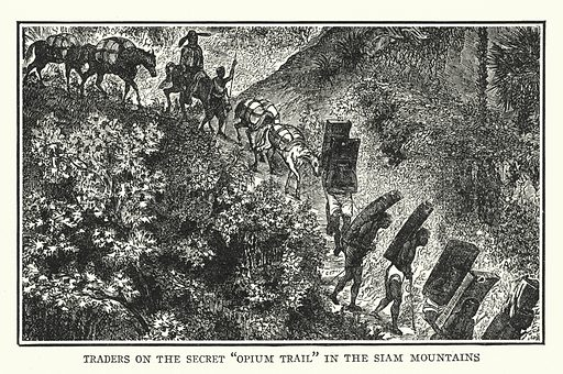 """Traders on the secret """"Opium Trail"""" in the Siam mountains. Illustration for The World and its People, a Comprehensive Tour of All Lands, by Charles F Horne (Ira R Hiller, New York, 1924)."""