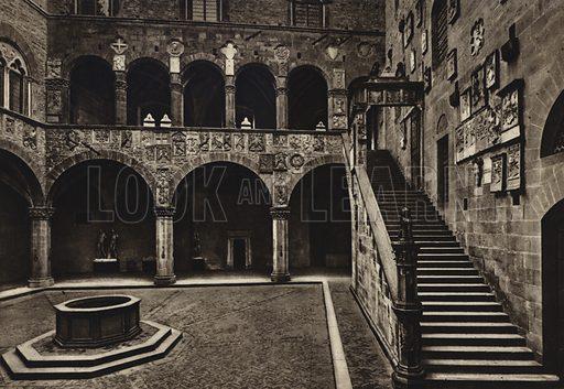 Cortile e scala del Palazzo del Podesta, secolo XIII. Illustration for Firenze, Album artistico con 80 tavole (C Capello, c 1920).