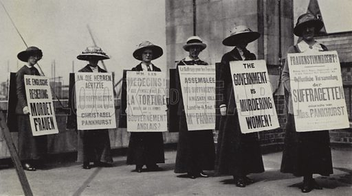 Suffragettes protesting wearing sandwich boards, 1914. Early 20th century photograph, from later reproduction.