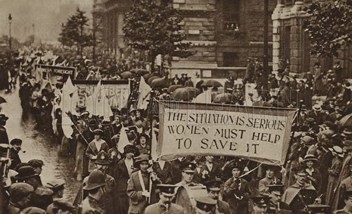 Women's Rights procession, Westminster, London, 1915. Illustration from The Royal Jubilee Book 1910-1935 (Associated Newspapers Ltd, London, 1935).