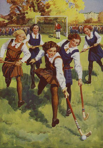 Schoolgirls playing hockey. Illustration from Schoolgirls' Story Book (Dean & Sons Ltd, London, c1935).