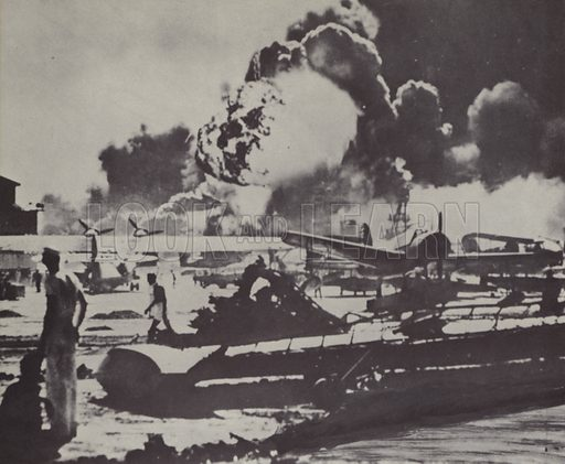 Japanese attack on Pearl Harbour, Hawaii, World War II, 7 December 1941.