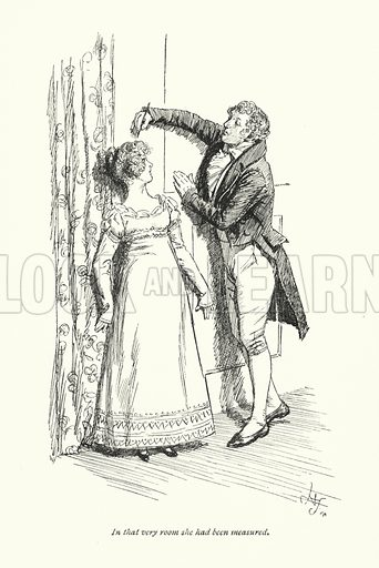 In that very room she had been measured. Illustration for Emma by Jane Austen (Macmillan, 1896).