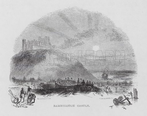 Bamborough Castle. Illustration for Visits to Remarkable Places by William Howitt (Longman, 1856).