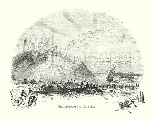 Bamborough Castle. Illustration for Visits to Remarkable Places by William Howitt (Longmans, Green, 1888).  Illustrations by Samuel Williams.