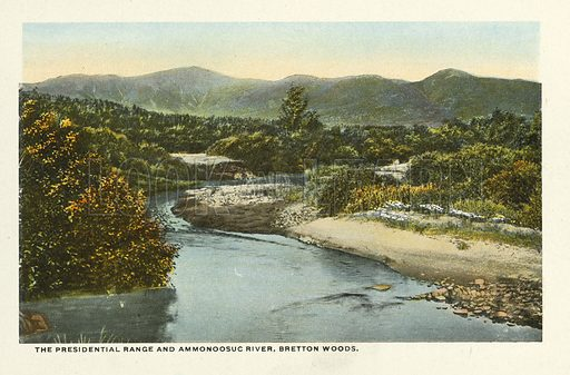 The Presidential Range and Ammonoosuc River, Bretton Woods. Illustration for Souvenir Folder of Bretton Woods and Vicinity, White Mountains, New Hampshire (Atkinson News, c 1920 - some photos dated 1914).