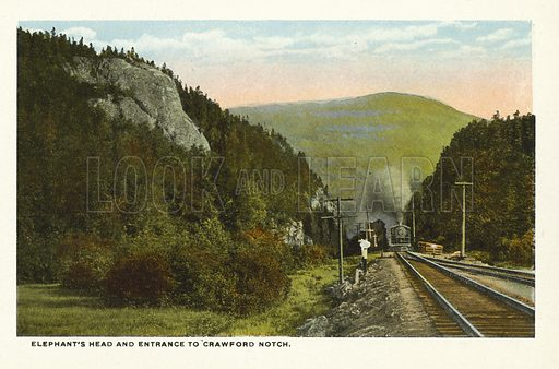 Elephant's Head and Entrance to Crawford Notch. Illustration for Souvenir Folder of Bretton Woods and Vicinity, White Mountains, New Hampshire (Atkinson News, c 1920 - some photos dated 1914).