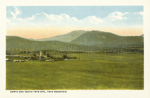North and South Twin Mountains, Twin Mountain. Illustration for Souvenir Folder of Bretton Woods and Vicinity, White Mountains, New Hampshire (Atkinson News, c 1920 - some photos dated 1914).