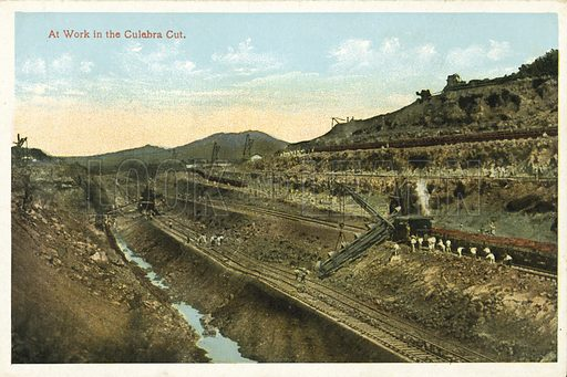 At Work in the Culebra Cut. One of a set of photographs regarding the construction of the Panama Canal (np, c 1920).