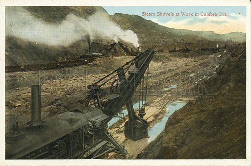 Steam Shovels at Work in Culebra Cut. One of a set of photographs regarding the construction of the Panama Canal (np, c 1920).