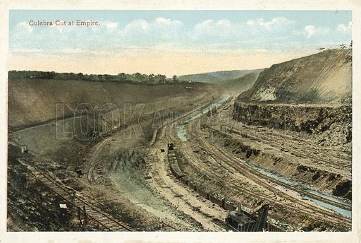 Culebra Cut at Empire. One of a set of photographs regarding the construction of the Panama Canal (np, c 1920).
