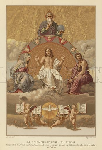 The Triumph of Religion, detail from The Disputation of the Holy Sacrament, fresco in the Stanza della Segnatura in the Apostolic Palace of the Vatican, Rome. Illustration from Jesus-Christ, by Louis Veuillot, with Une Etude sur l'Art Chretien, by E Cartier (Librairie de Firmin-Didot et Cie, Paris, 1876).