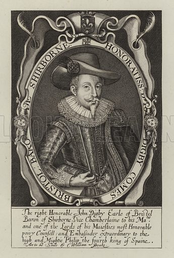 John Digby, 1st Earl of Bristol (1586-1653), English politician and diplomat. Illustration from Woodburn's Gallery of Rare Portraits (George Jones, London, 1816).
