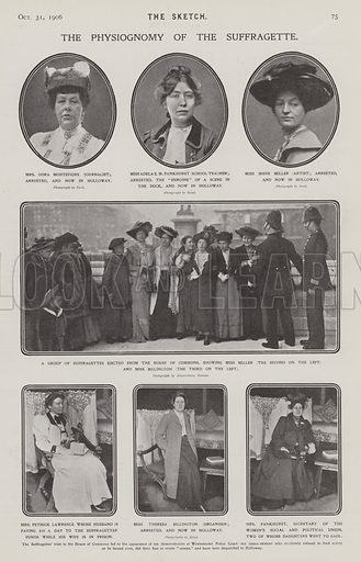 Prominent British suffragettes, 1906. The physiognomy of the suffragette. Illustration from The Sketch, 31 October 1906.