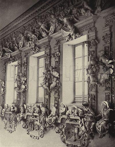Stucco decoration by Giacomo Serpotta and students, Oratorio di Santa Cita, Palermo, Sicily, Italy, 1717-1718. Illustration from Baukunst und Dekorative Skulptur der Barockzeit in Italien (Verlag von Julius Hoffmann, Stuttgart, 1922).