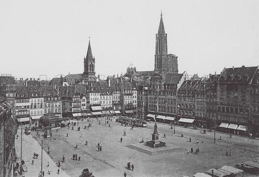 La Place Kleber. Illustration for Strasbourg, 18 Vues Artistiques (CAP, c 1920).  Many photos seemingly earlier.