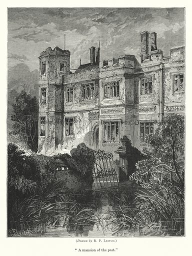 """""""A mansion of the past."""" Illustration for The Quiver (1876)."""