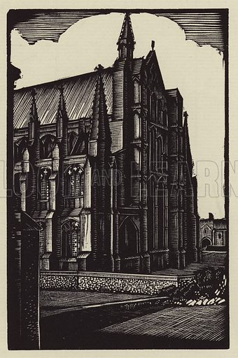 The East End. Illustration for A Short History of Ely Cathedral by Seiriol Evans, illustrated by John F Greenwood (Dean & Chapter, 1927).