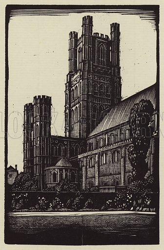 From the Dean's Garden. Illustration for A Short History of Ely Cathedral by Seiriol Evans, illustrated by John F Greenwood (Dean & Chapter, 1927).