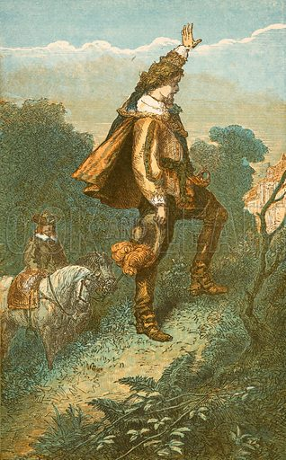 Bonnie Prince Charlie says farewell to home. Illustration for Pictorial Records of Remarkable Events (James Sangster, c 1880).