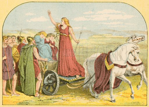 Queen Boadicea.  Illustration for Pictorial Records of Remarkable Events (James Sangster, c 1880).