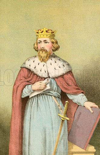 Alfred the Great.  Illustration for Pictorial Records of Remarkable Events (James Sangster, c 1880).
