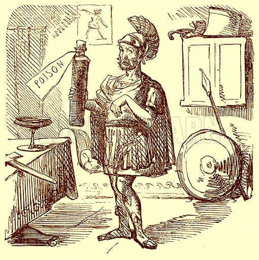 Hannibal makes the usual Neat and Appropriate Speech Previous to Killing himself. Illustration for The Comic History of Rome by Gilbert Abbott a Beckett (Bradbury, Evans, c 1850).