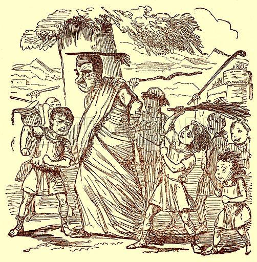 School-Boys Flogging the Schoolmaster. Illustration for The Comic History of Rome by Gilbert Abbott a Beckett (Bradbury, Evans, c 1850).