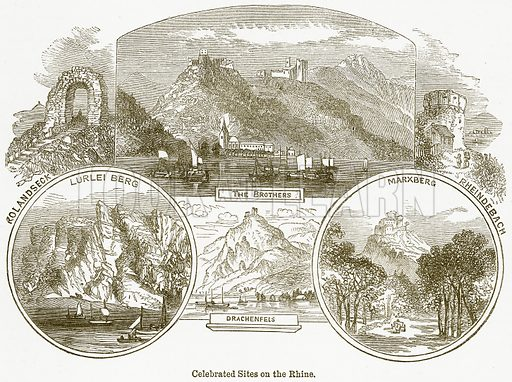Celebrated Sites on the Rhine. Rolandseck. Lurlei Berg. The Brothers. Marxberg. Rheindebach. Drachenfels. Illustration from The National Encyclopaedia (William Mackenzie, c 1900).