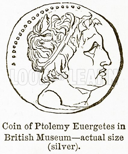 Coin of Ptolemy Euergetes in British Museum – Actual Size (Silver). Illustration from The National Encyclopaedia (William Mackenzie, c 1900).