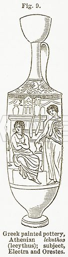 Greek Painted Pottery, Athenian Lekuthos (Lecythus); Subject, Electra and Orestes. Illustration from The National Encyclopaedia (William Mackenzie, c 1900).