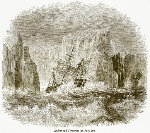 Erebus and Terror in the Pack Ice. Illustration from The National Encyclopaedia (William Mackenzie, c 1900).