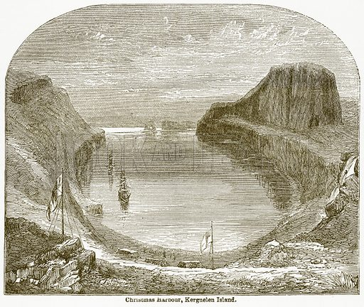 Christmas Harbour, Kerguelen Island. Illustration from The National Encyclopaedia (William Mackenzie, c 1900).